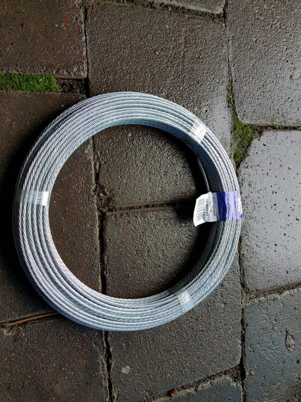 Roll of galvanized clothesline wire to rewire rotary clothesline